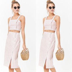 Striped Linen-blend Midi Skirt and Crop Top Set